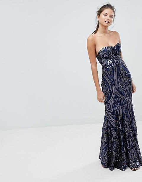 Club L – Maxiklänning med fishtail-kjol och bandeau-ringning