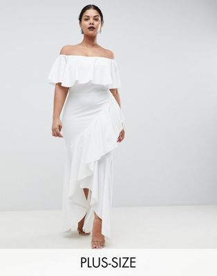 Club L Plus Bardot Frill Dress