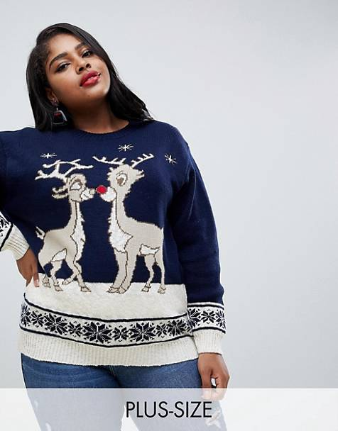 Club L plus christmas sweater with kissing rudolph