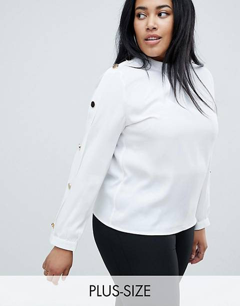 Club L Plus Collared Chiffon Blouse With Gold Button Detail