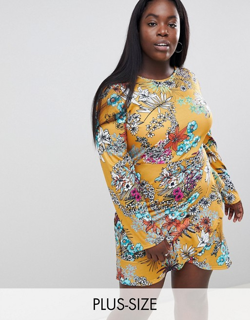 Club L Plus Long Sleeve Printed Dress