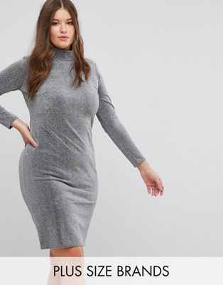 Club L Plus Metallic High Neck Dress