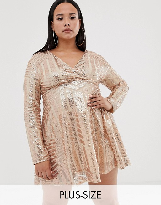 Image 1 of Club L Plus sequin disc skater dress