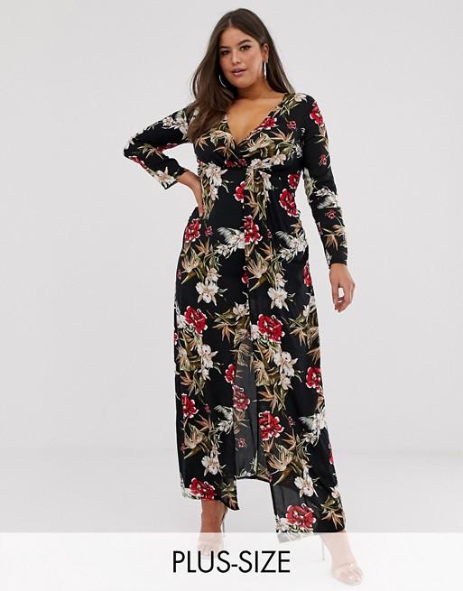 Club L Plus wrap front floral maxi dress