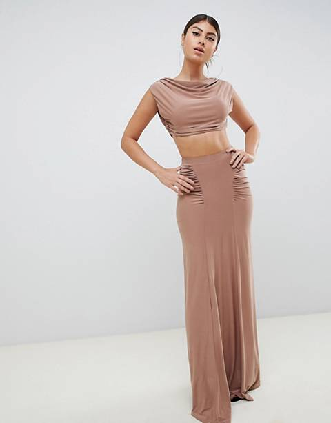 Club L ruched detail slinky maxi skirt in camel