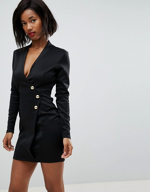 Image 1 of Club L Scuba Blazer Wrap Dress with Long Zip Detail at back