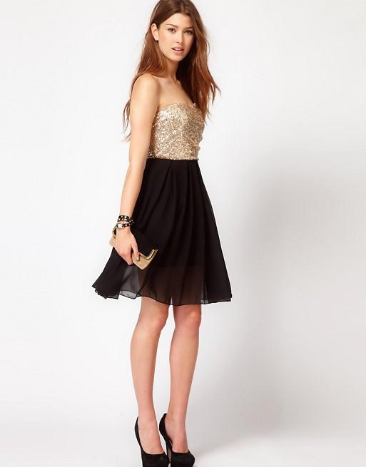 89db513d5dc Club L Sequin Bandeau Dress With Chiffon Skirt