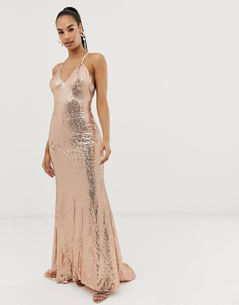 Club L sequin cross back fishtail maxi dress