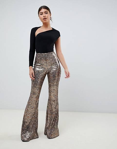 Club L sequin snake print flare pants in multi