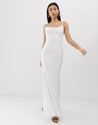 Image 1 of Club L slinky cowl front maxi dress in white