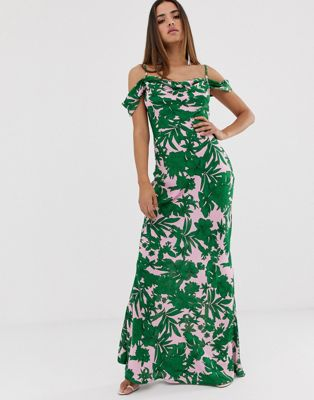 Image 1 of Club L tropical print bardot cowl neck maxi dress