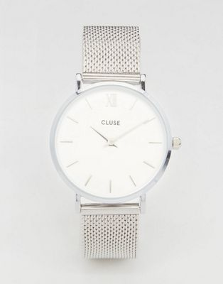 CLUSE Minuit Silver Mesh Watch CL30009