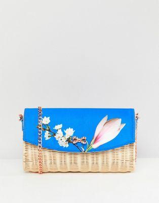 Clutch de paja con estampado floral Harmony de Ted Baker