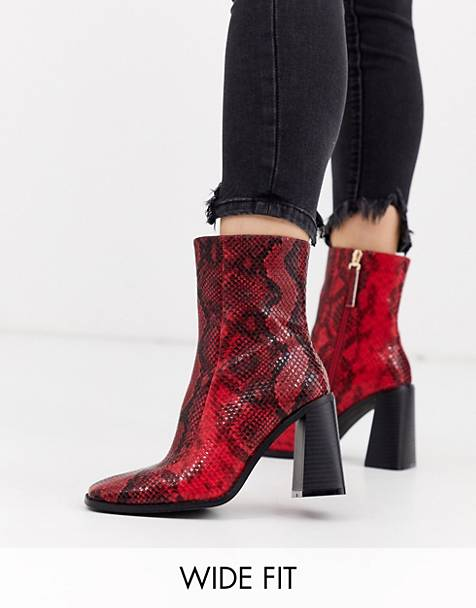 Co Wren wide fit block heeled boots in snake