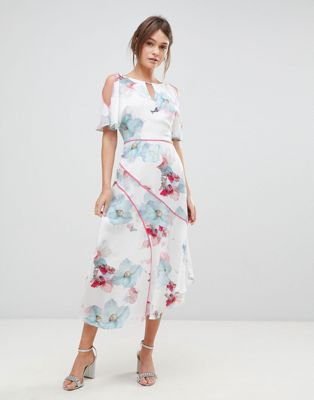 Image 1 of Coast La Hune Asymmetric Hem Floral Print Dress