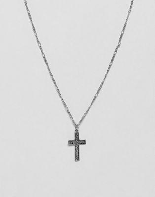 Collar con cruz grabada en plateado pulido de ASOS DESIGN