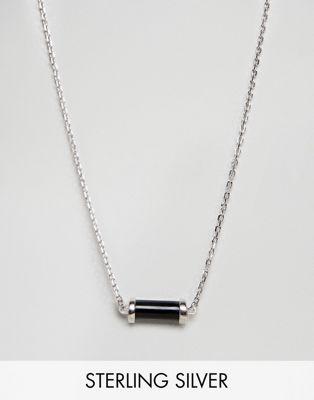 Collar de plata de ley con colgante negro exclusivo en ASOS de DesignB
