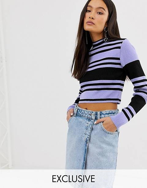 COLLUSION color block ribbed crop sweater