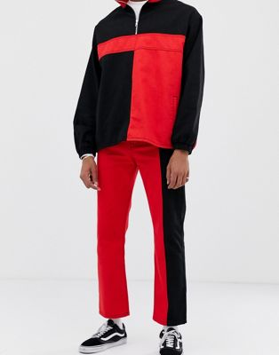 COLLUSION colour blocked straight leg jeans in black and red