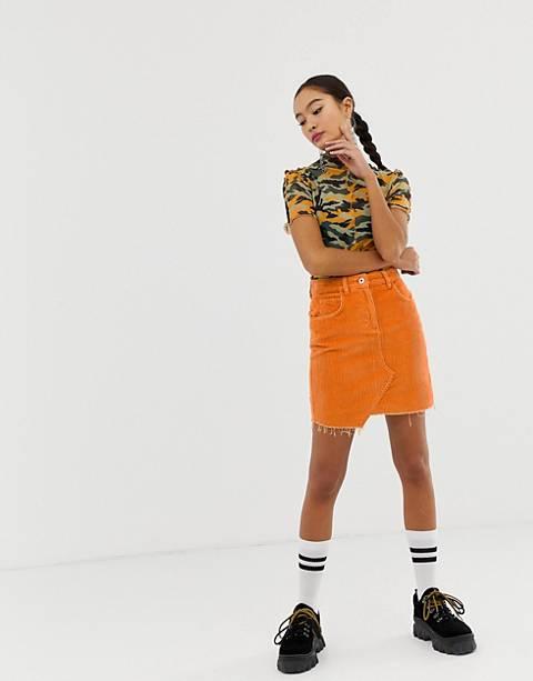 COLLUSION cord mini skirt