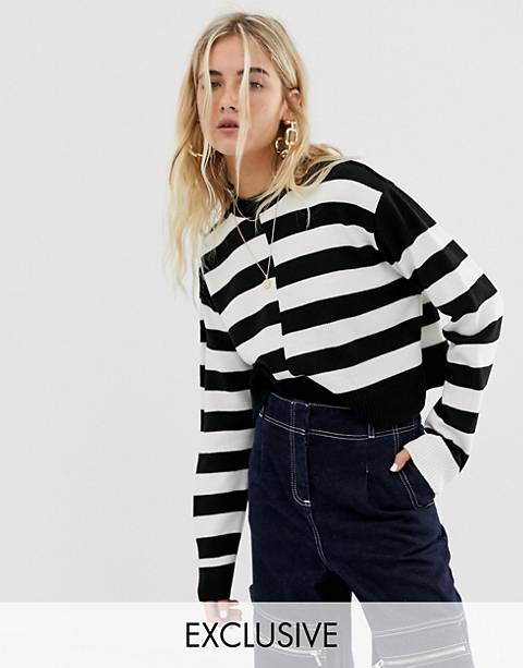 COLLUSION crop stripe sweater