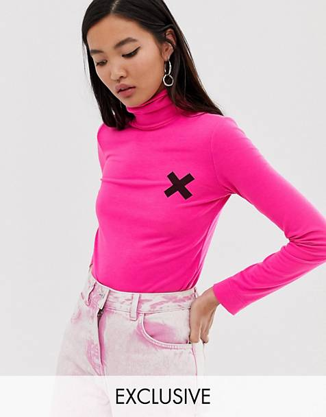 78919417 COLLUSION long sleeve logo top in pink