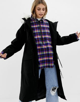 Image 1 of COLLUSION longline parka with removable faux fur hood