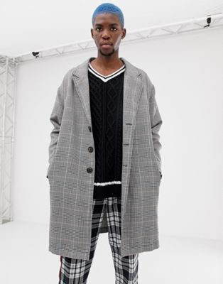 Image 1 of COLLUSION overcoat in grey check