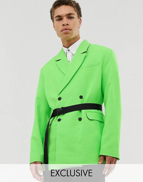 COLLUSION oversized belted neon green blazer