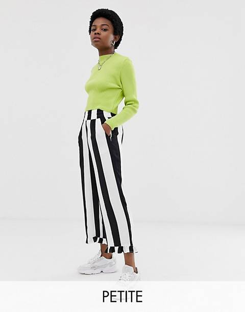 COLLUSION Petite bold stripe pants with ruffle hem