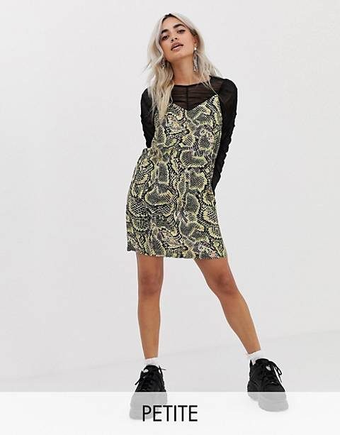 COLLUSION Petite snake print mini dress