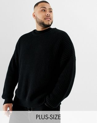 COLLUSION Plus chunky fisherman rib sweater with crew neck