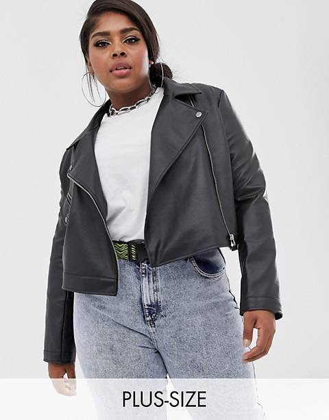 COLLUSION Plus cropped leather look biker jacket