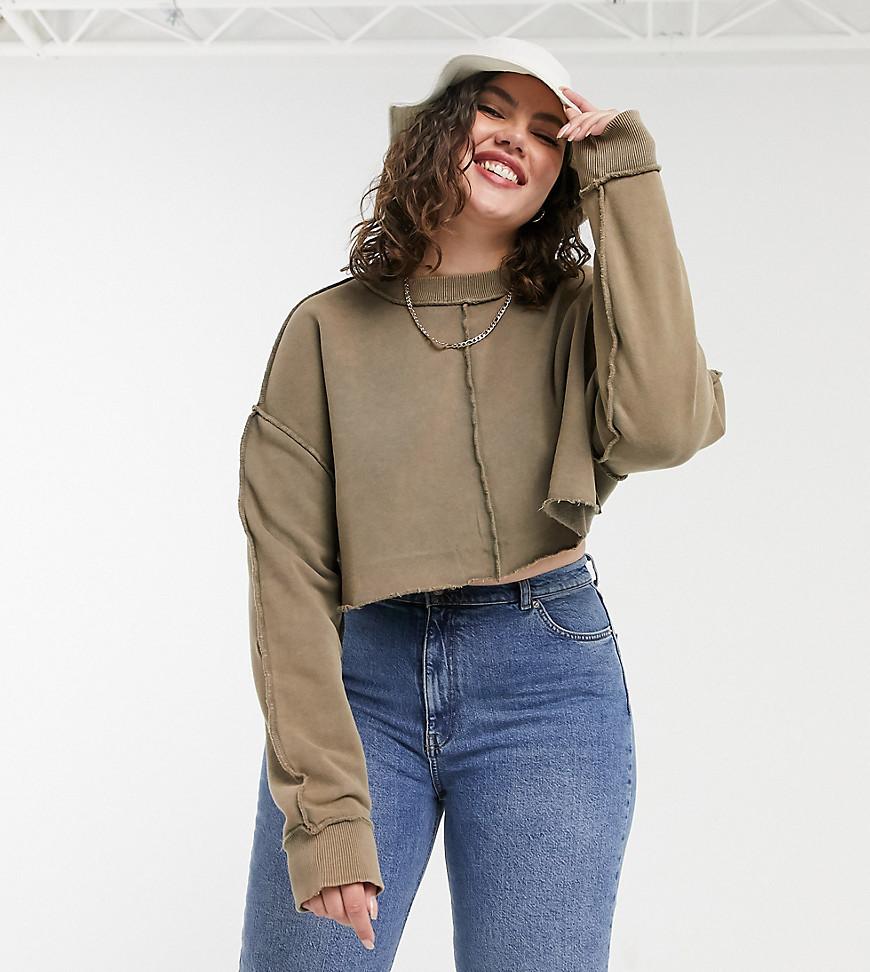 COLLUSION Plus - Cropped sweatshirt med blotlagt sømdetalje - Kun hos ASOS-Grå