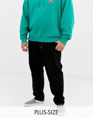 COLLUSION Plus - Jean skateur avec surpiqûres contrastantes - Noir