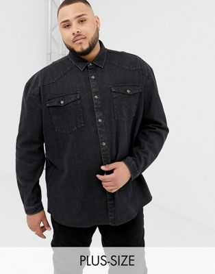 COLLUSION Plus oversized western denim shirt in washed black