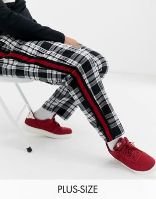 COLLUSION Plus skater fit check pants with side stripe