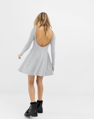 COLLUSION ribbed mini skater dress with open back