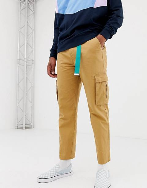 COLLUSION skater fit cargo pants in tan