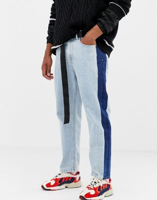 COLLUSION skater jean with contrast side stripe in bleach wash