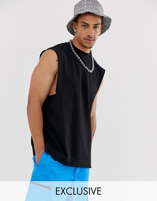 COLLUSION sleeveless t-shirt in black