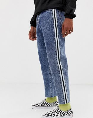 COLLUSION straight leg crop jean with side stripe in dark snow wash