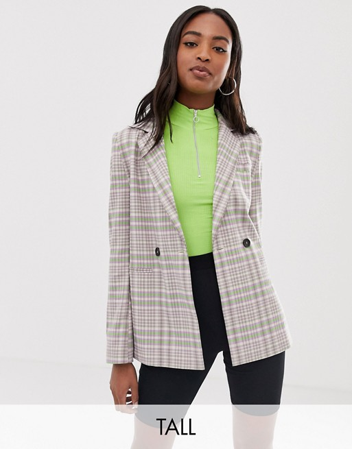 COLLUSION Tall double breasted check blazer with side tape