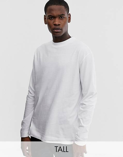 COLLUSION Tall regular fit long sleeve t-shirt in white