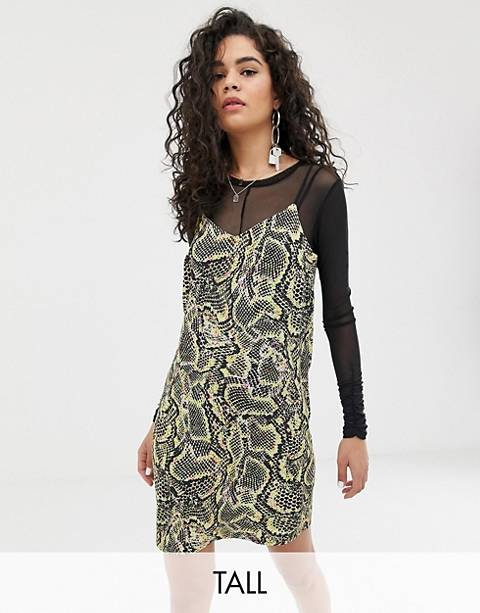 COLLUSION Tall snake print cami mini dress
