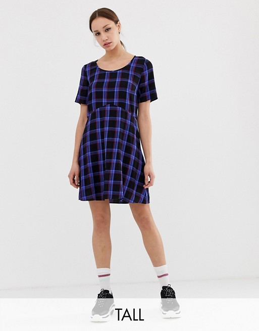COLLUSION Tall tie back check smock dress