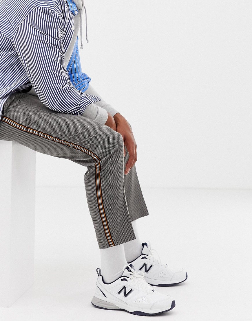 Collusion Tapered Check Pants With Side Stripe by Collusion