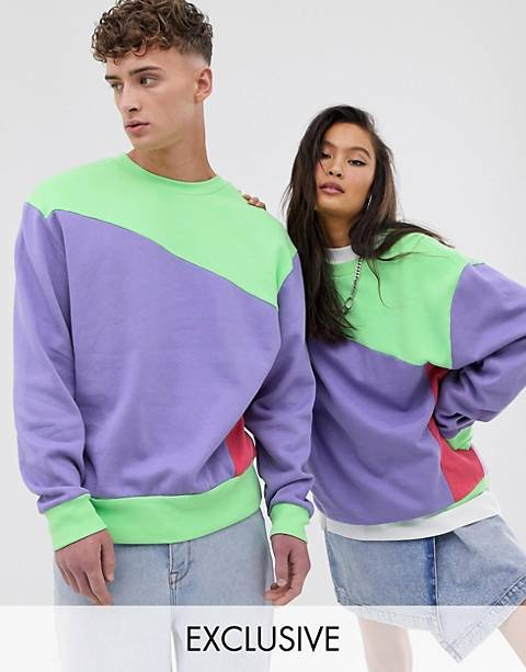 COLLUSION Unisex color blocked sweat in green