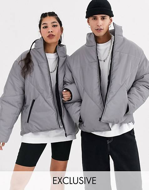 COLLUSION Unisex reflective puffer jacket in gray