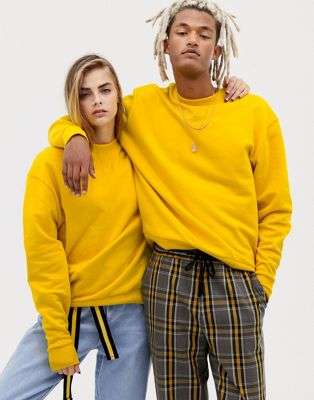 COLLUSION Unisex sweatshirt in yellow